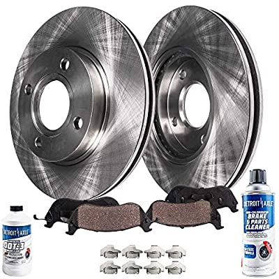 Detroit Axle - Pair (2) Front Disc Brake Kit Rotors w/Ceramic Pads w/Hardware & Brake Kit Cleaner & Fluid for 1991-1998 1999 2000 2001 2002 Saturn SC SC1 SC2 SL SL1 SL2 SW SW1 SW2