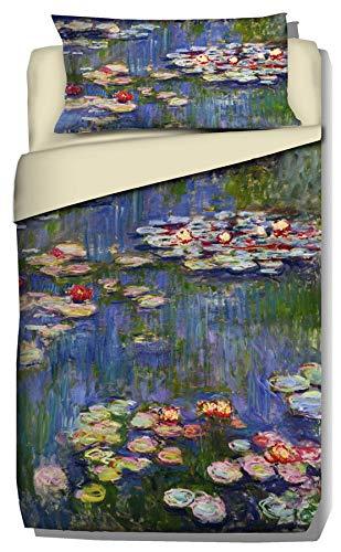 copripiumino singolo 240x155 Deco Italia Set Copripiumino copriletto Monet Ninfee 100% Cotone   Singolo 155 x 240 cm + Federa 50 x 80 cm