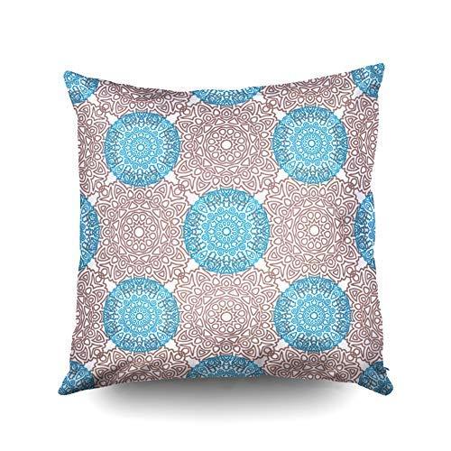 WH-CLA Pillow Cover Fun Ethnic Arabesque Rapport para Imprimir Calico Chintz Wallpaper Damasco Motivo En V Rosa Azul Fundas De Almohada Cremallera Throw Pillow Funda Square Regalo De Cum