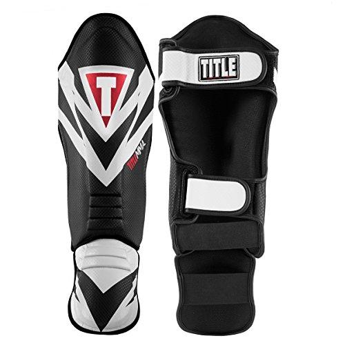 Title MMA Command Shin & Instep Guards, Black/White, Large