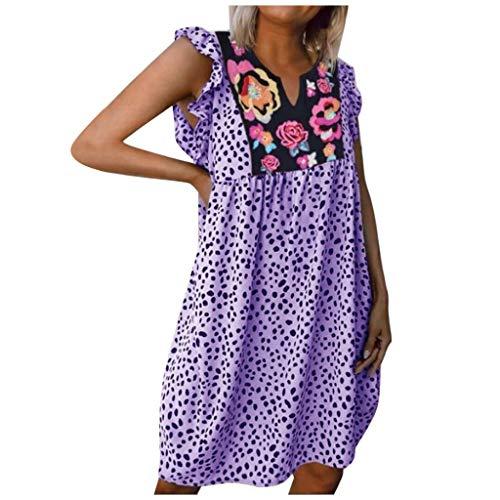 URIBAKY Ärmellose Lose Fit Rüsche mit Blumenmuster für Damen Sommerkleider Kurz,Elegant Leopard Tunika Kleid Kurz Große Große Strand Minikleid