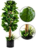 GARDEN COUTURE Deluxe 72' Premium Fiddle Leaf FIG Artificial Tree + Fiddle Leaf and Tropical Grass Foliage in 10' Base + 12' Plant Pot Skirt