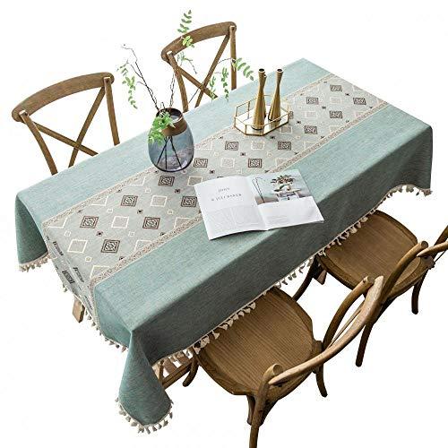 Mantel de tela de algodón, lavable, de algodón, de lino, rectangular, a prueba de polvo, para cocina, comedor, mesa, fiesta, banquete, decoración de comedor (3,100 x 160 cm)