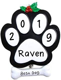 Hobby Home Accessories Black Dog Paw Personalized Christmas Tree Ornament 2019 | Custom Writing Dog Paw Ornament Gift