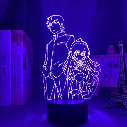 Lámpara de anime 3D Luz de noche Ilusión de ilusión Toradora LED para decoración de habitación Manga Regalo de cumpleaños Dormitorio para niños Dormitorio Mesa Tiger Dragon Touch-Tocar