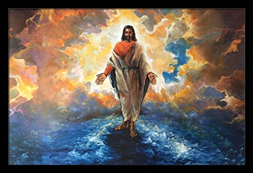and He Walked On Water (Religious/Jesus) - Katherine Roundtree 24x36 Black Framed - African American Black Art Print Wall Decor Poster #2239