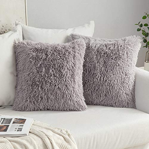 MIULEE Pack of 2 Faux Fur Throw Pillow Cover Fluffy Soft Decorative Square Pillow covers Plush Case Faux Fur Cushion Covers For Livingroom Sofa Bedroom 20 x 20Inch 50 x 50cm Grey