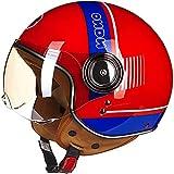 AZBYC Casco De Cara Abierta Casco De Motocicleta Casco Jet Vintage Casco Piloto Vespa Cruiser Scooter Casco ECE D.O.T Casco Harley Unisex Certificado (XL)