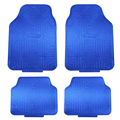 FH Group F14410BLUE Metallic Finish Rubber Backing Floor Mats (Blue) Full Set – Universal Fit for Most Cars Trucks & SUVs