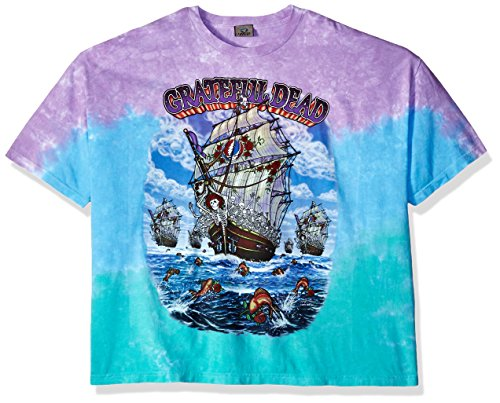 Liquid Blue Men's Plus Size Grateful Dead Ship of Fools Short Sleeve T-Shirt, Tie Dye/Multi, Small