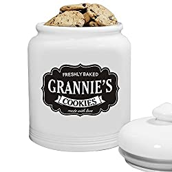 "White cookie container with place for personalization in the message that says ""Freshly Baked Cookies, photo"
