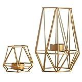 Nuptio 2 Piezas Candelabro de Línea Geométrica de Hierro, Portavelas Tealight, Decoración de Mesa