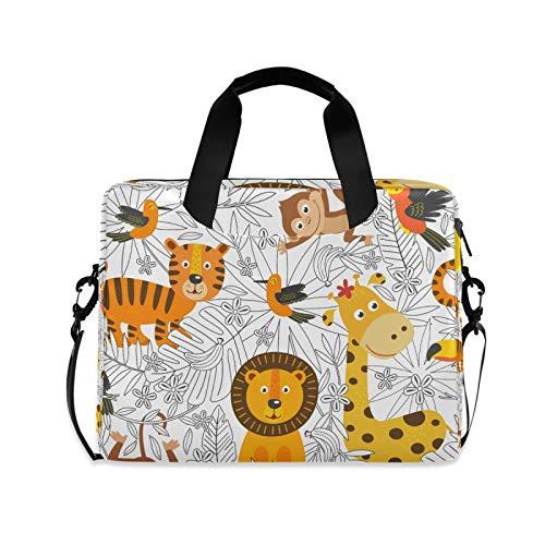 OOWOW - Bolsa para ordenador portátil para mujer y hombre, diseño de jirafa, mono león y mono ligero, maletín para ordenador portátil de 14 15,6 16 pulgadas