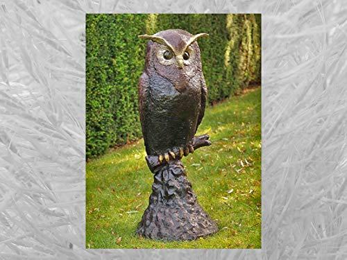 IDYL Escultura de bronce con búho sobre roca, 114 x 50 x 49 cm, figura de animal de bronce, hecha a mano, escultura de jardín o estanque, artesanía de alta calidad, resistente a la intemperie