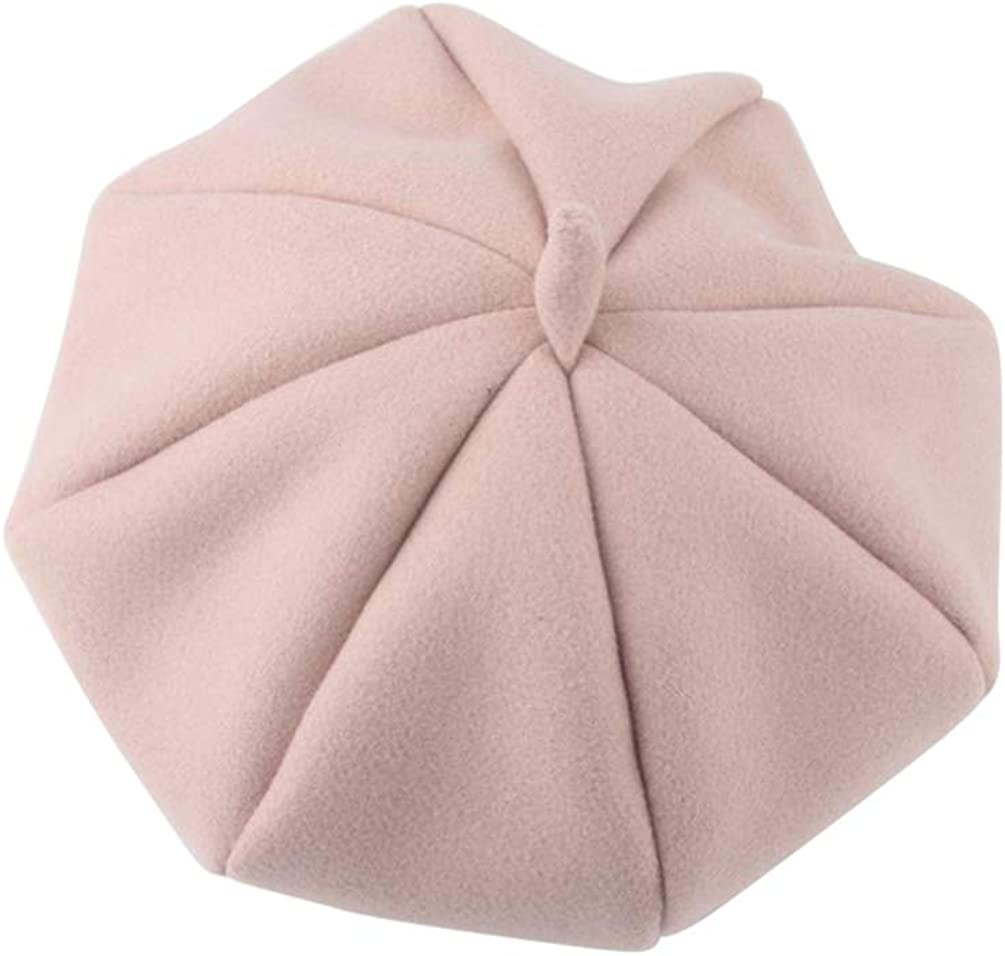FENICAL Girls Woollen Berets Fashion Beanie Solid Color Octagonal Hat Painter Cap for Kids Children (Black)