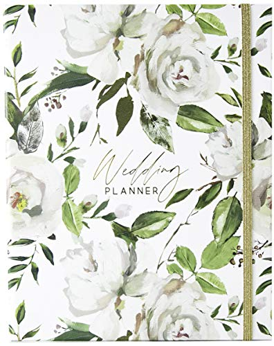 Modern Wedding Planner Book and Organizer for Brides with Gift Box | The Complete Bridal Planning Journal for Engaged Couples | Luxury Hardcover Notebook | White & Flowers