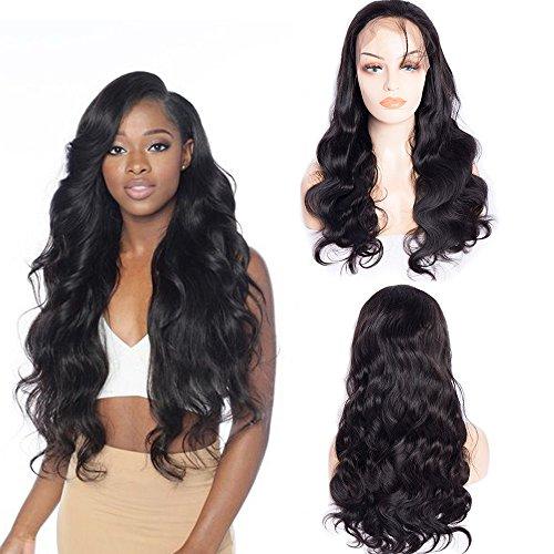Maxine Perruque avec dentelle frontale ondulée 100 % cheveux humains vierges non traités Densité 180 % Cheveux naturels brésiliens avec cheveux de bébé pour femme noire Couleur naturelle (25,4 cm)