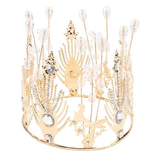 PRETYZOOM Precioso Diamante de Imitación de Oro Cristal Diamand Corona Tiaras Románticas Diademas de Novia Baile de Boda Accesorios de Fiesta Nupcial Regalos de Navidad para Mujer (Dorado)