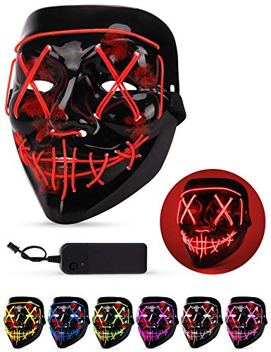 Maschera LED Halloween, the Purge Mask LED che si Illumina nella Notte, LED Maschera Viso 3 Modalità di Luci, Maschera da La Notte Del Giudizio per Costume Cosplay Festa e Party di Carnevale - Rosso