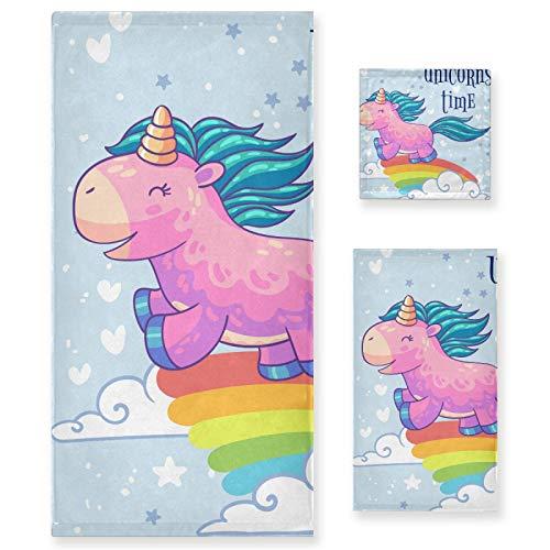 Juego de Toallas de baño de Lujo de algodón de 3 Piezas para Mujeres, Hombres, baño, Cocina, 1 Toalla de baño, 1 Toalla de Mano, 1 toallitas, pequeño Unicornio arcoíris