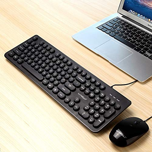 New Computer Keyboard Warwolf Punk Wired Keyboard Wired Mouse Set (Color : Black)