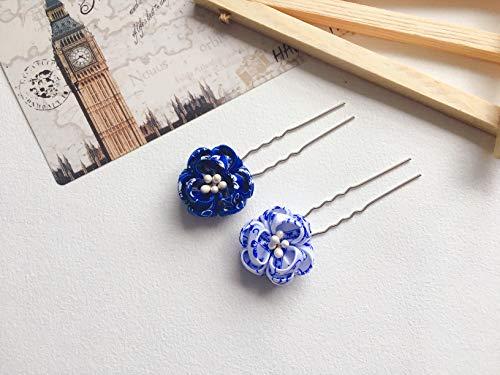 Tsumami Kanzashi - Pasador de pelo hecho a mano, diseño de flores, color azul y blanco