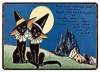 黒猫 メタルポスタレトロなポスタ安全標識壁パネル ティンサイン注意看板壁掛けプレート警告サイン絵図ショップ食料品ショッピングモールパーキングバークラブカフェレストラントイレ公共の場ギフト