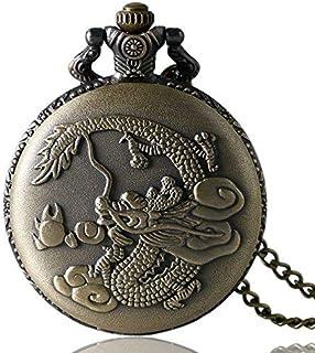 empty Montre de Poche Bronze Retro Design Dragon Chinois Quartz Fob Montre de Poche avec chaîne Collier GAGEAA