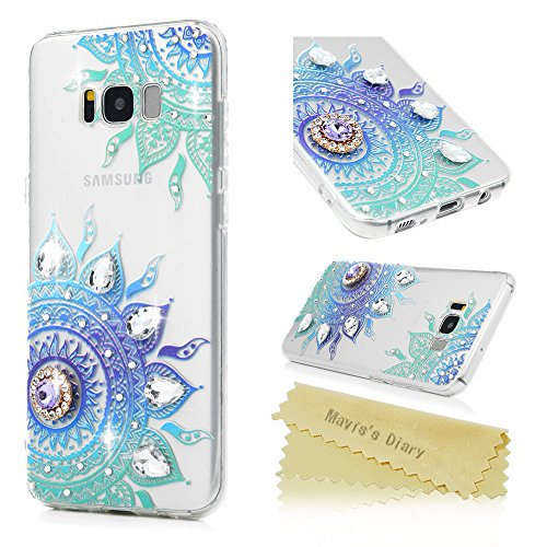 S8 Plus Case, Mavis's Diary 3D Handmade Luxury Crystal Clear Soft TPU Bumper Painted Totem Flower Bling Shiny Diamonds Sparkle Rhinestones Ultra Slim-Fit Protective Cover for Samsung Galaxy S8 Plus