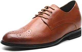 CHAMARIPA Men's Invisible Height Increasing Elevator Shoes-Genuine Cow Leather Formal Brogue Dress Shoes Lift-2.76 Inches Taller H81D37K021D