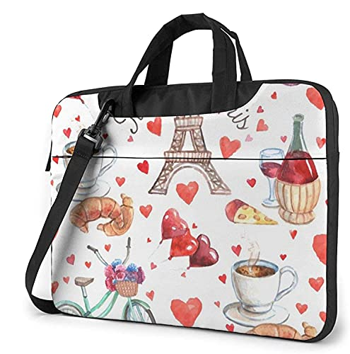 Maletín Funda para Ordenador Portátil Love Paris Tower Café Vino Perfume Bicicleta Corazón Portadocumentos Maletines y Bolso Bandolera para Portátil 13/14/15.6 Pulgadas