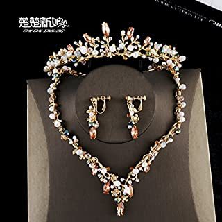 Quantity 1x Crown Tiara Party Wedding Headband Women Bridal Princess Birthday Girl Gift necklace _three-piece_ suit gold crystal beaded Hair Ornaments Wedding dress set chain earrings jewelry