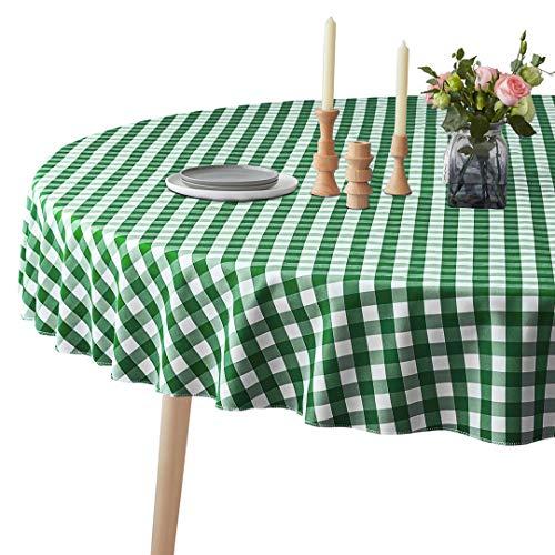 Mantel a Cuadros a Prueba de Derrames 100% Poliéster - Mantel Redondo - Mantel Blanco y Verde Resistente a Las Manchas, sin Arrugas y Lavable para Picnic, Fiestas y cenas en Casa
