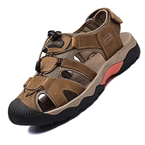 VTASQ Sandali Sportivi Uomo Cuoio Sandali Trekking Sandali Estivi Chiusi Sandali da Mare All'aperto Spiaggia Pescatore Antiscivolo Marrone 39-46
