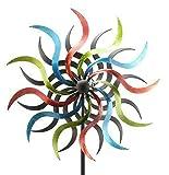 Klassisches Windrad für Garten - Groß & Bunt/Metall - Ø 50cm / Höhe: 180cm - Wetterfest - Hochwertige Qualität & Stabiler Standstab - Gartenstecker/Metallwindrad/Windräder - Gartendeko