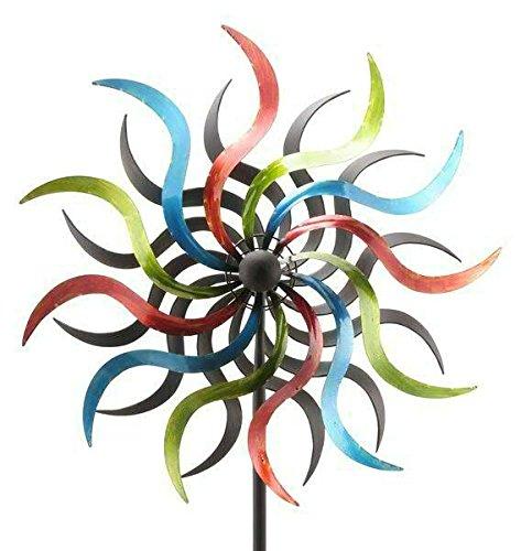 Klassisches Windrad für Garten - Groß & Bunt/Metall - Ø 50cm/Höhe: 180cm - Wetterfest - Hochwertige Qualität & Stabiler Standstab - Gartenstecker/Metallwindrad/Windräder - Gartendeko