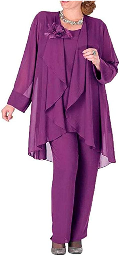 Plus Size Chiffon Mother of The Bride Pants Suits with Jacket 3 PC Women Outfits Evening Wedding Party Dress