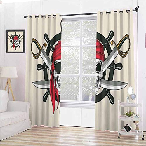 Toopeek Skulls Decor Collection Wear-Resistant Color Curtain Pirate Skull with Scarf Crossed Swords Violence Sea Sailing Risky Adventurous Image 2 Panel Sets W63 x L72 Inch Dimgrey Red