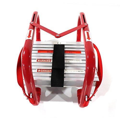 Portable Fire Ladder 2 Story Emergency Escape Ladder 15 Ft with Wide Steps V Center Support