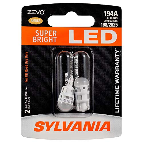 SYLVANIA ZEVO 194 T10 W5W Amber LED Bulb, (Contains 2 bulbs)