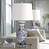 Iris Asian Chinese Jar Style Table Lamps Set of 2 Blue Porcelain Crystal Geneva White Fabric Drum Shade Decor for Living Room Bedroom House Bedside Nightstand Home Office Family - Barnes and Ivy