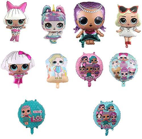 MIANRUII 10 Unids LOL Partys Helium Balloons for Children Birthday Doll Globos Decoraciones para Suministros de Fiesta Infantil