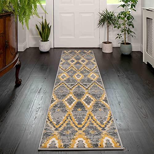 Alfombra estilo marroquí, azteca y vintage con diseño de entramado en colores terracota, naranja, marrón, ocre y gris grafito para el pasillo, dormitorios, sala de estar y/o cocina 60cm x 240cm