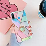 Uposao Compatibile con Huawei P30 Lite Custodia per Telefono Cellulare con Supporto per Anello a 360 Gradi Cover Glitter Trasparente Protettiva Ultra Sottile in Silicone TPU per Ragazza,Rosa Blu