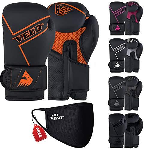 VELO Boxhandschuhe aus mattem Leder, für Muay Thai, Training, Sparring, Kickboxen, Kampfhandschuhe für Boxsack, Fokus-Pad, Arm-Kick-Pad (Black Edition) (400 g, Orange-Schwarz)