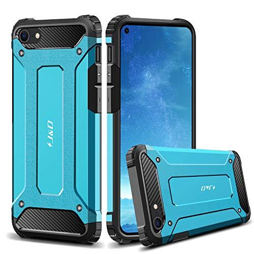 J&D Compatibile per Apple iPhone SE 2020/iPhone 7/iPhone 8 Cover, [Armatura Sottile] [Doppio Strato] Ibrida Antiurta Protettiva Rigido Custodia per iPhone SE (Release in 2020) - Blu