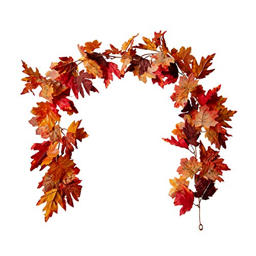 Suuki 6Ft Artificial Maple Leaf Garland Fall Foliage Autumn Hanging Vine for Outdoor Home Thanksgiving Christmas Fireplace Mantel Decor(Maple-C)