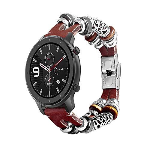Vintage Armband Ersatz Zubehör Uhrenarmband Kompatibel mit Huami Amazfit GTR 42MM Smart Watch (Kaffee)
