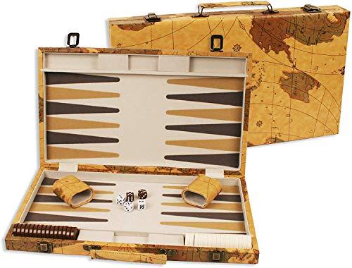 DA VINCI 16 Inch Leatherette Backgammon Set with Beautiful Old World Map Design