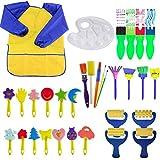 Queta Kits de Peinture pour Enfants Brosses de Peinture Éponge Brosses de Peinture Enfant avec Palette et Tablier (32pcs)